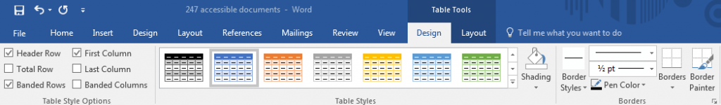 Header Row option checked in table style options