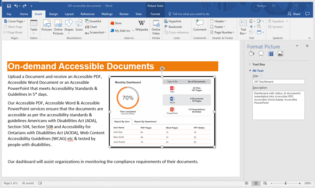 Screenshot of providing alt text to an image in a word document