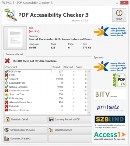 Screenshot of summary report for the tested file.