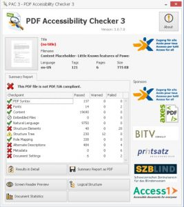 Screenshot displaying Passed,Warned and Failed for each checkpoint.