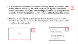 Screenshot displaying order of placeholder first is the text placeholder and next two are picture placeholders