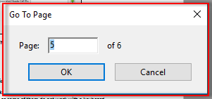 Screenshot showing Go To Page dialogue.