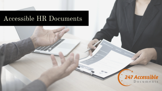 a lady with a form in her hand on one side of the table and a person on the other side of the table, Text - Accessible HR Documents, 247 accessible documents logo.