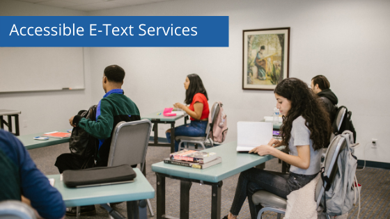 a classroom with a student in a wheelchair - Accessible Etext services